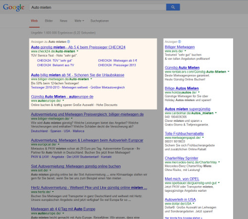 So sehen AdWords in den Google Suchergebnissen aus